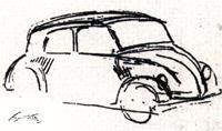 """Рисунок Адольфа Гитлера: таким ему виделся """"народный автомобиль"""""""