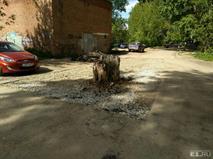 В Екатеринбурге пень посреди дороги обложили асфальтом, фото 1